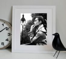 Audrey Hepburn Thinking, Decorative Arts, Prints & Posters,Wall Art Print, Poster Any Size - Black and White Poster